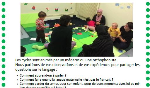 """Ateliers """"langage de 0 à 3 ans"""" en novembre"""